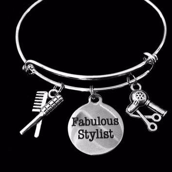 Fabulous Hair Stylist Charm Bangle Scissors, Blow Dryer, Comb, Brush on a Silver Expandable Adjustable Bangle Bracelet Trendy Stacking Handmade Gift