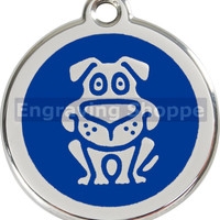 Dog Sitting Enamel and Stainless Steel Personalized Custom Pet Tag with LIFETIME GUARANTEE ID Tag Dog Tags and Cat Tags Free Engraving