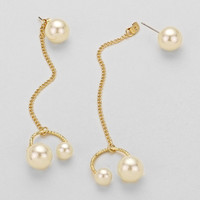 Asymmetric Chain Metallic Triple Pearl Drop Earrings White