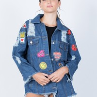 Oversized Patched Denim Jacket