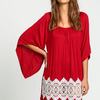 Burgundy Crochet Bell Tunic Top