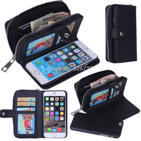 Lady Women PU Leather Zipper Handbag Wallet Purse with Card Slot Phone Case Cover for iPhone 6 6S 7 Plus 5S 5G SE Phone Bags