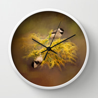 Pot of Gold - Chickadees - Song Birds - Wildlife Wall Clock by Jai Johnson