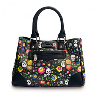 Rockabilly Love Skull and Flower Rockabily bohemian Handbag
