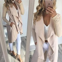 Lapel long sleeve irregular pure cardigan coat female