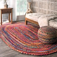 The Curated Nomad Grove Handmade Braided Multicolor Rug (5' x 8' Oval) | Overstock.com Shopping - The Best Deals on Round/Oval/Square