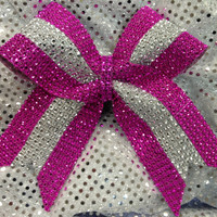 1 Hot Pink & Silver Rhinestone Bling Cheer Cheerleading Dance Ribbon Bow