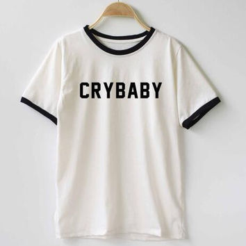 Women/men Cry Baby T-Shirt Funny Teenager Student Shirt T-Shirt Tshirt shirt TEE