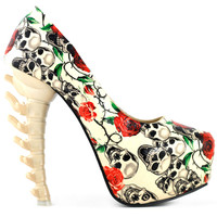 LF80610 Beige Skull Rose Print Platform Bone Heel Party Club Pumps