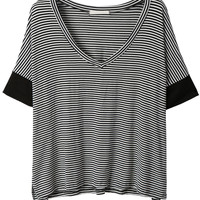 LE3NO Womens V Neck Batwing Sleeve Oversized Striped Shirt (CLEARANCE)