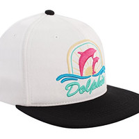 Pink Dolphin Sunset Snapback Hat - White / Black