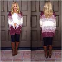 Ombre Latte Cardigan Sweater - WINE