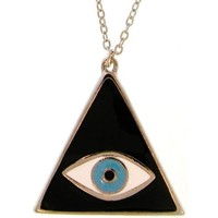 Triangular Mystical Lucky/Evil Eye Pendant Necklace, Quality Made in USA!, in Black with Silver Tone Finish