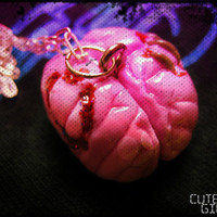 ON SALE - Infected - Zombie - Brain - Necklace - OOAK