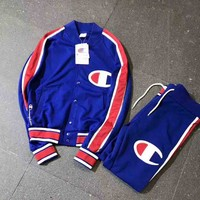"""Champion"" Buckle Cardigan Sweatshirt Jacket Coat Windbreaker Sportswear Pants Suit I-A-XYCL"