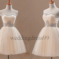 Custom Champagne Beaded Short Tulle Bridesmaid Dresses 2014 Formal Prom Dresses Fashion Evening Gowns Fashion Party Dress Cocktail Dress