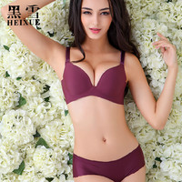 2016 Women Bra Set Female Sexy Seamless Bra And Panty Set Plus Size Fashion Push Up deep V-neck Bra Lingerie solid color