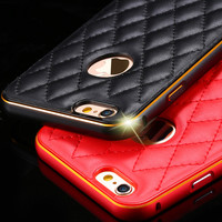 For iphone6 / i6 Plus Cover Luxury Aluminum Metal +Leather Back Accessories Gold Case Hole Logo For Apple iphone 6 4.7/ Plus 5.5