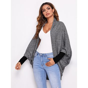 SHEIN Open Front Batwing Sleeve Rib-knit Coat