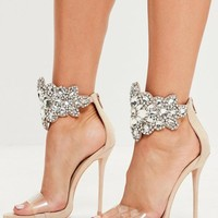 Missguided - Peace + Love Nude Embellished Barely There Heeled Sandals