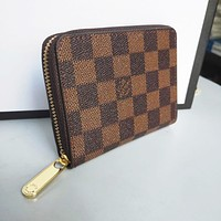 LV Louis Vuitton Popular Women Men Zipper Clutch Bag Wristlet Wallet Purse