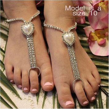 HEART  flower girl rhinestone barefoot sandals - silver