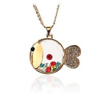 transparent colorful rhinestone lovely fish necklace