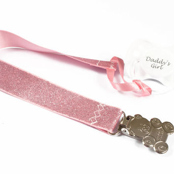 Adult baby pacifier clip - ABDL soother clip - DDLG dummy chain pink glitter