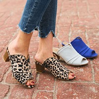 Fashion thick-heeled fish mouth sandals and slippers with leopard print high-heeled women's shoes