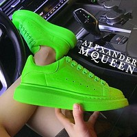 Alexander McQueen MCQ Fashion Women Men Sneakers Macaron Shoes Fluorescent green