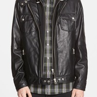 Men's 7 Diamonds 'Los Angeles' Trim Fit Leather Moto Jacket with Inset Hood (Online Only)