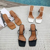 Women Sandals High Heel Sandals Slippers Slip On Open Toe Sandals Casual Outdoor Slippers Narrow Band Slides