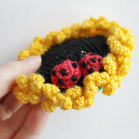 Crochet pin cushion - Ladybugs on a sunflower