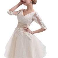 Cocomelody A Line V Neck Lace Short 3/4 Sleeves Wedding Prom Dress