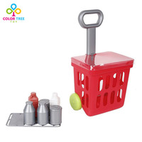 Kids Simulation Toys Market Cart Grocery Play Food Toy Set Educational Toys Birthday Gifts for Children