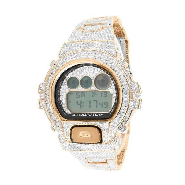 Image of G-Shock For Men Icy Rose Gold Finish Lab Diamond Copper Tone Genuine Watch