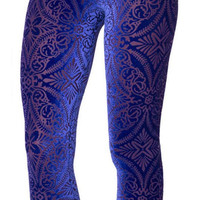 Blue Burned Velvet Leggings Design 370