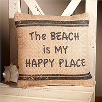 The Beach Is My Happy Place - Small Coastal Beach Decorator Burlap Pillow - 8-in