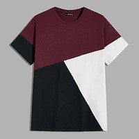 Fashion Casual Men Colorblock Short Sleeve Tee