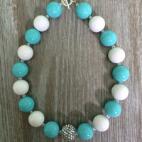 Turquoise and White Sparkle Little Lady Necklace
