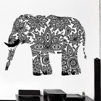 Wall Decal Elephant Indian Animal Cool Ornament Mural Vinyl Decal Unique Gift (z3328)