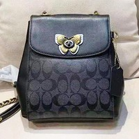 COACH New fashion pattern leather mini backpack bag Black