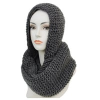 """""""Classic"""" Thick Crochet Charcoal Grey Hooded Infinity Scarf"""