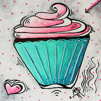 Sugary Sweet Cupcake Mini Pop Art Original Painting By Madart
