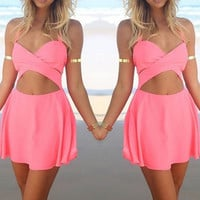 Sexy Summer Blend Pink Bandage Spaghetti Strap Backless Clubwear Dress, Party Dress