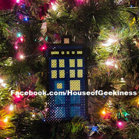 Doctor Inspired Tardis Bead Sprite Ornament, Magnet, or Wall Decor