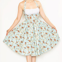 Rockabilly Girl by Bernie Dexter**Baby Blue Sparrow Frenchie Halter Swing Dress - Unique Vintage - Cocktail, Evening  Pinup Dresses