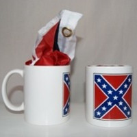 Confederate Rebel 10oz Coffee Cup with FREE 32 x 32 inch Square Polyester Battle Flag