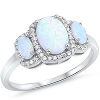 3 Oval White Lab Opals with Clear Cubic Zirconia Halos in Sterling Silver Band