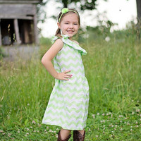 One Shoulder Chevron Dress Lime Green